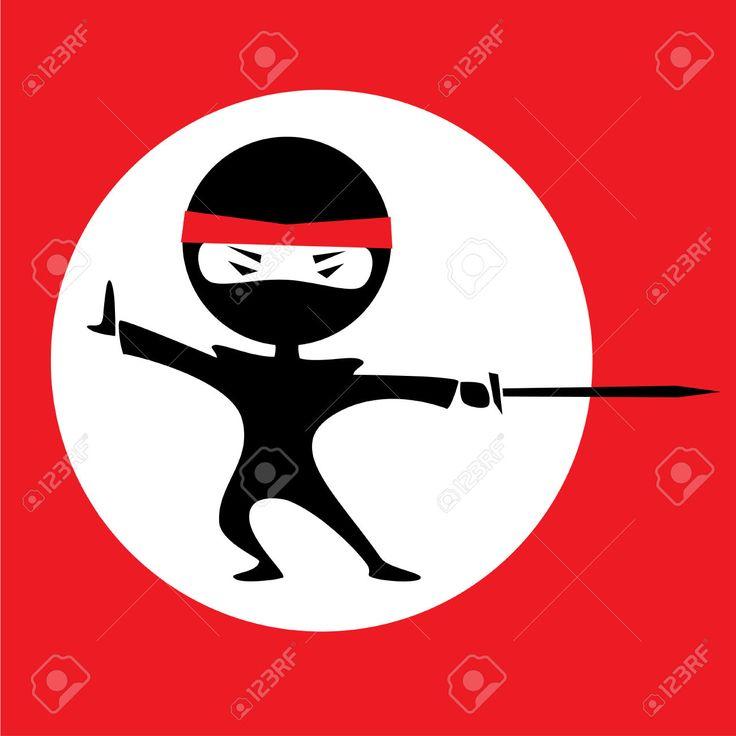 Vector Illustration Of A Cartoon Ninja Holding A Sword. Red ...