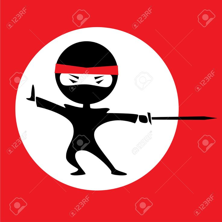 Vector Illustration Of A Cartoon Ninja Holding A Sword. Red ...