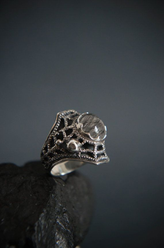 Spider web ring rutilated quartz ring sterling by TheManerovs