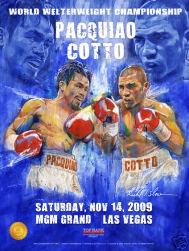 Manny Pacquiao vs Miguel Cotto On Site Fight Poster from H.O.F. artist Richard T. Slone