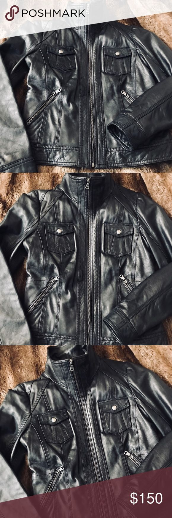Genuine Leather Jacket Real leather Guess women's jacket! Zip up , high neck, two chest pockets and two hand pockets. I love this jacket! It will be hard to part with. So perfect with a pair of stilettos, ripped skinny jeans and a white blouse for a night out! Guess Jackets & Coats