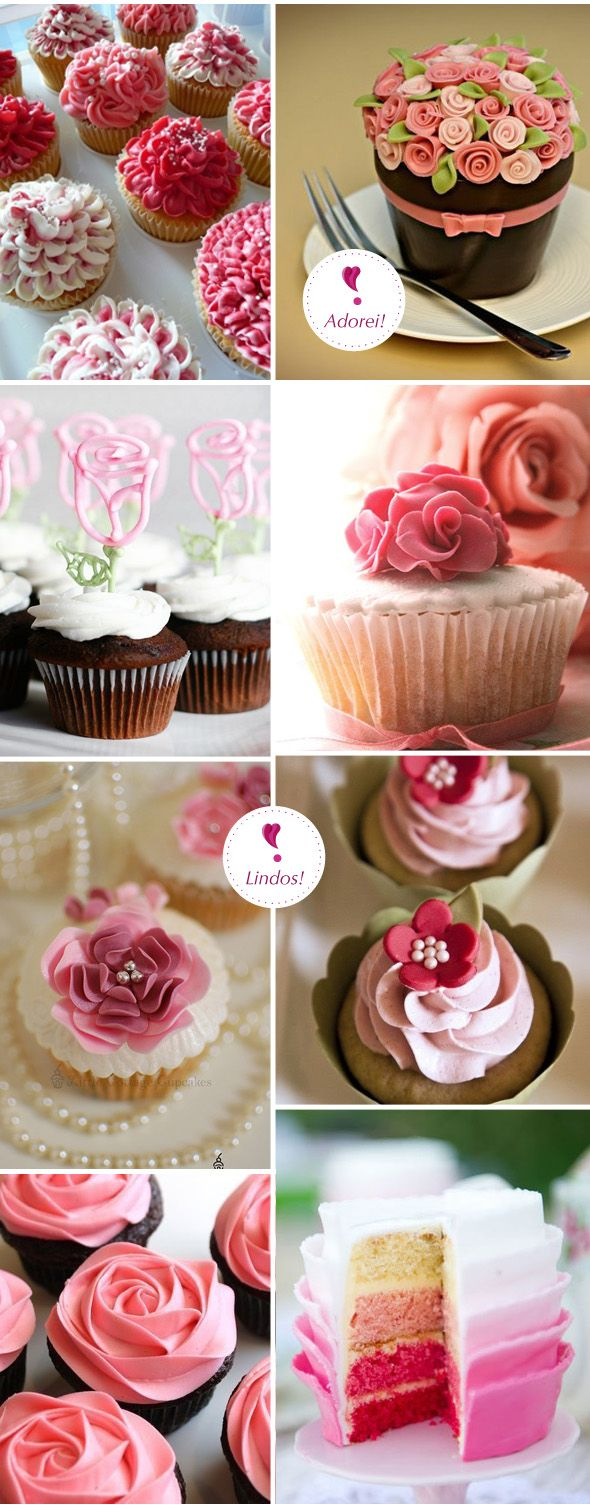 Pink flowers Cupcakes are what I would imagine someday when I get married, since my favorite color is pink and pink can go with just about any color and it says girlie and manly yet feminine and soft with a touch of grace. These cupcakes are definitely what I would choose to have at my reception.                                                                                                                                                      Mais