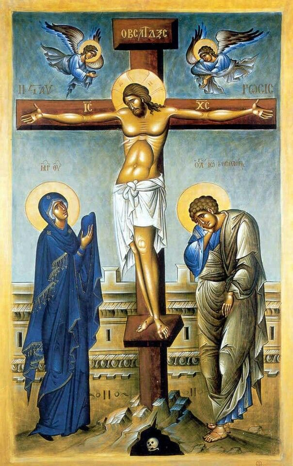 "Our Lady  St. John at the foot of the cross. ""Woman, behold your son. (St. John) behold your Mother"""