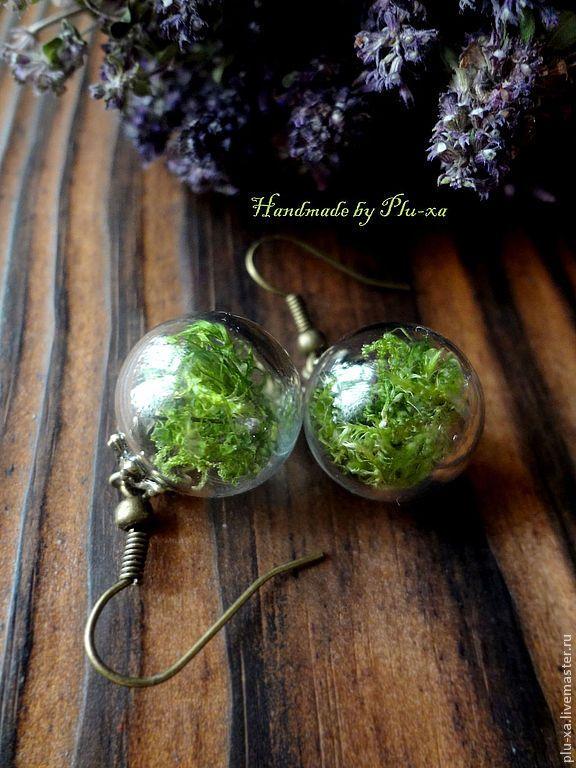 """Купить Сережки """" Лес"""" - зелёный, украшения ручной работы, авторские украшения, необычное украшение"""