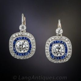 2.10 Carat Diamond and Sapphire Art Deco Style Vintage Earrings