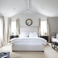 Ashley Goforth Design - bedrooms - vaulted ceiling, vaulted ceiling bedroom, bedroom vaulted ceiling, high vaulted ceiling, black and gold c...