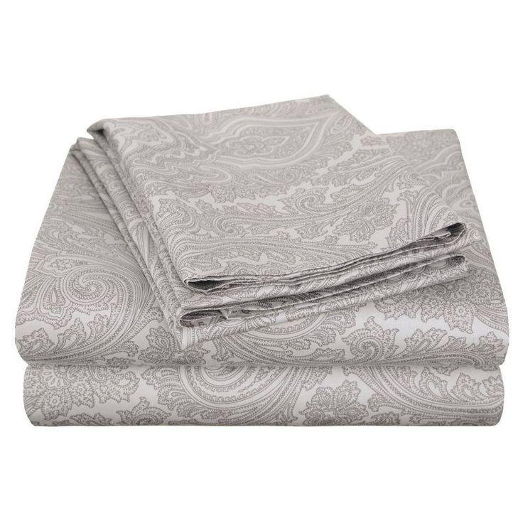 Superior Cotton Rich 600TC Italian Paisley Sheet Set Grey - CR600QNSH IPGR