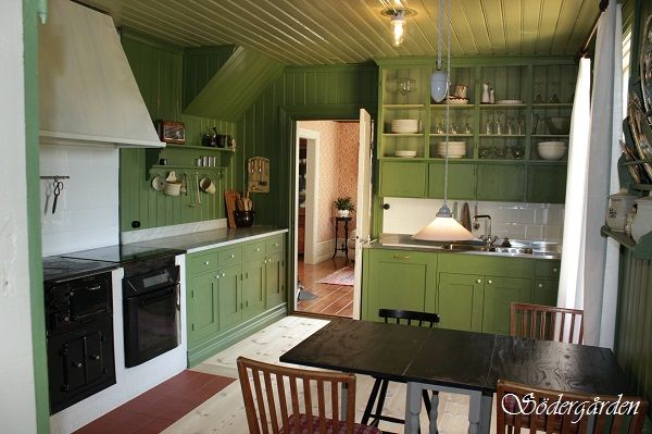 Swedish country house kitchen renovated in old style