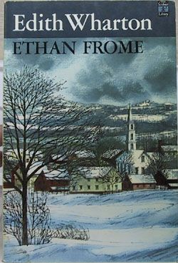 "Ethan Frome by Edith Wharton.  ""I spent most of the next day lying in bed, immersed in the miserably uninteresting fictional world of Ethan Frome, while the Colonel sat at his desk, unraveling the secrets of different equations or something."" Page 55"