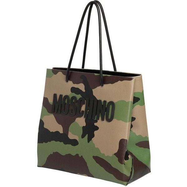Moschino Women Camo Printed Leather Tote Bag ($1,060) ❤ liked on Polyvore featuring bags, handbags, tote bags, handbags totes, leather tote, leather tote bags, camo tote and camo purses