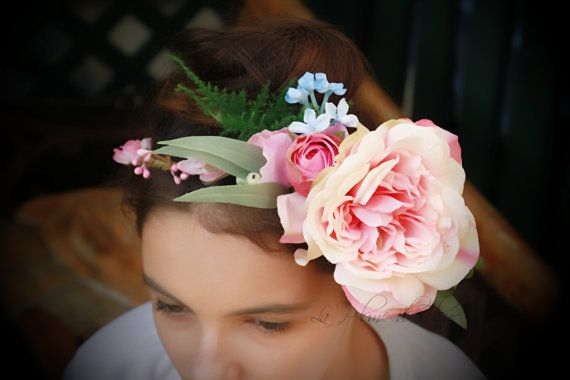 Rosie - Silk flower crown, hair circlet.  Flower and foliage hair accessory.