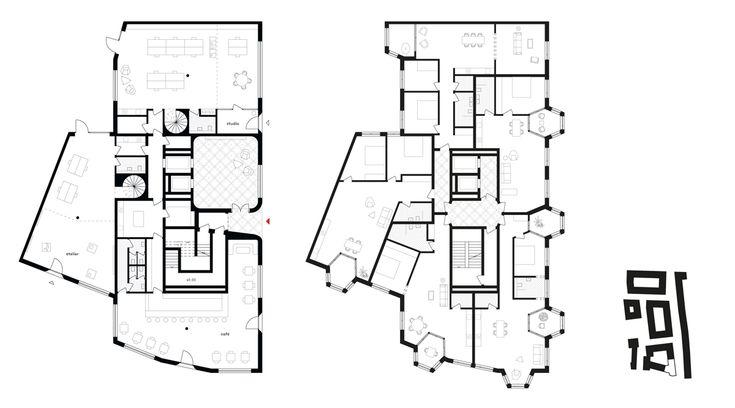 Gebäudeentwurf von jessenvollenweider Architekten: Grundrisse (Erdgeschoss links, Regelgeschoss rechts) und Lage des Gebäudes im Stadtgrundriss (rechts).
