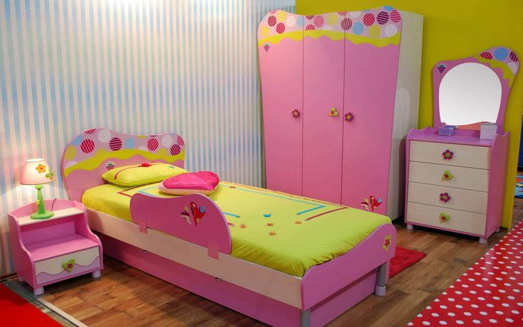 Amusing Pink And Yellow Bedroom Set For Toddler Including Low Bed With Safety Rain, Side Bed Desk, Dresser And Cupboard : The Cutest Toddler Girl Bedroom Sets with for Small Bedroom Remodel