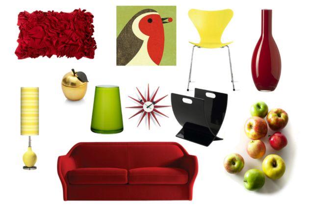 Cómo decorar una sala en tonos manzana