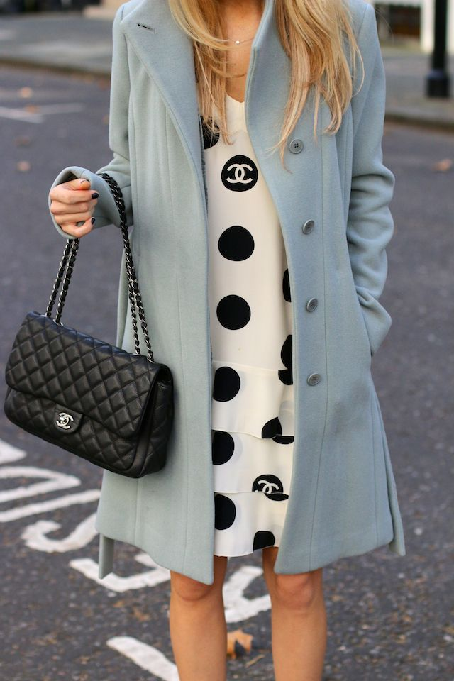 chanel + dotted + dress