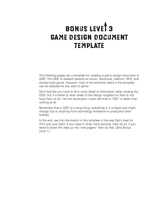 T Bonus Levei 3   Game Design Document   Template   The following pages are a template for creating a game design document...