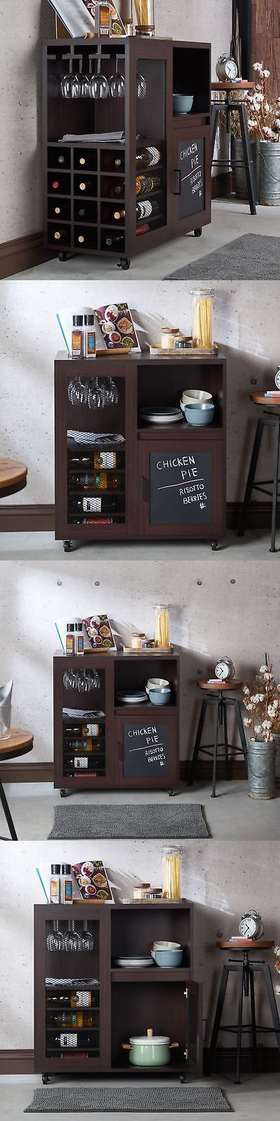 Home Pubs and Bars 115713: Home Bar Furniture Cabinet Wine Storage Liquor Rack Pub Bottle Wood Mini Server -> BUY IT NOW ONLY: $273.57 on eBay! #wineracks