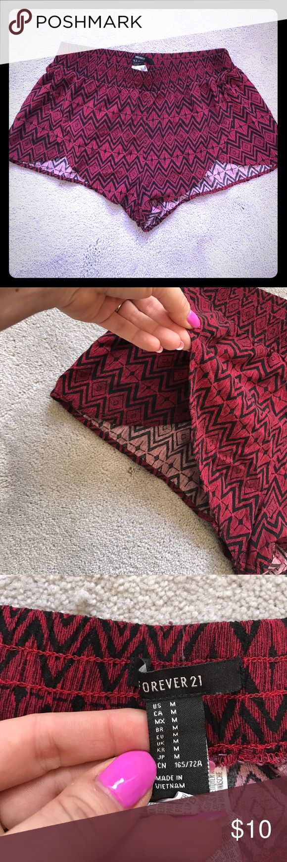 Forever 21 Aztec print shorts Forever 21 size medium flowy shorts. Elastic waistband, 100% rayon. These things are so comfy! Great for throwing on after a swim or lounging around on hot days! Forever 21 Shorts