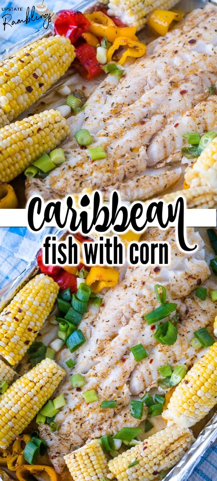 This is an easy sheet pan dinner! In this Caribbean fish recipe cod or another white fish is baked with corn and bell pe…