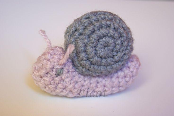 Picot - Szydełkowe Inspiracje: Ślimak szydełkowy, Crochet Snail, Amigurumi