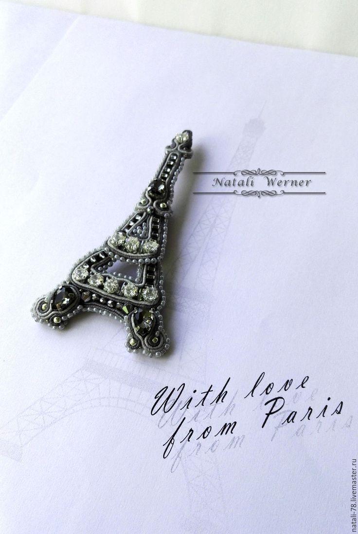 """Купить Сутажная брошь """"Эйфелева башня"""" (серый, цирконы, брошь, Париж) - сутажная брошь"""