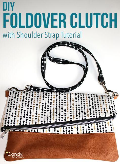 DIY Foldover Clutch with Shoulder Strap Tutorial / iCandy handmade