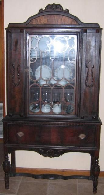 Antique China Cabinets General Antiques Antique China Cabinet Walnut Veneer Tulip