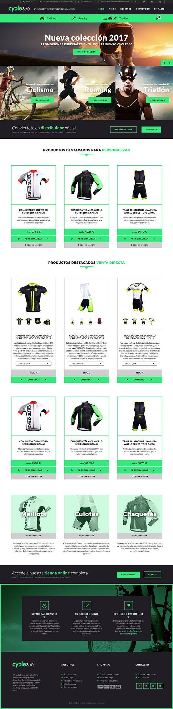 Cycle360 es un tienda online que permite la personalización de prendas deportivas de ciclismo, triatlón y running, realizada con Jimdo personalizando la plantilla y los distintos elementos. Presenta una imagen muy dinámica y deportiva, con un original efecto en el modo en que se oculta y se muestra la cabecera y menú al hacer scroll.