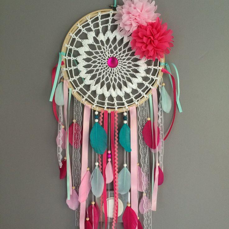 Attrape rêves dreamcatcher attrapeur de rêves en dentelle plumes et perles bois