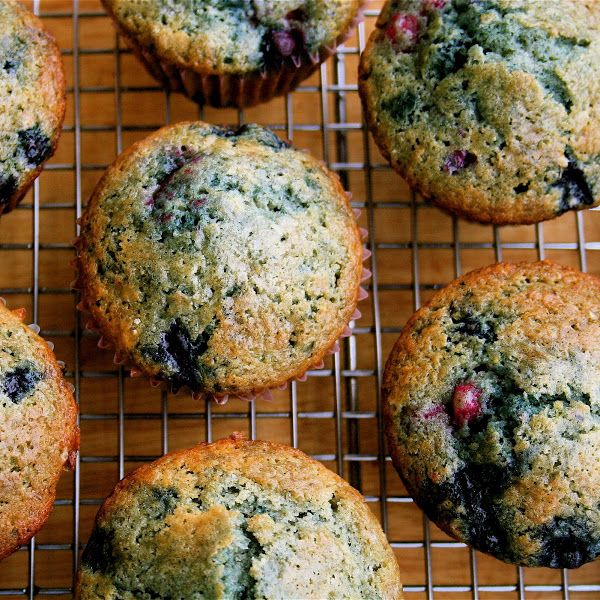 These berry muffins are moist, sweet, and a yummy yummy treat! I used all frozen berries and they came out beautifully.