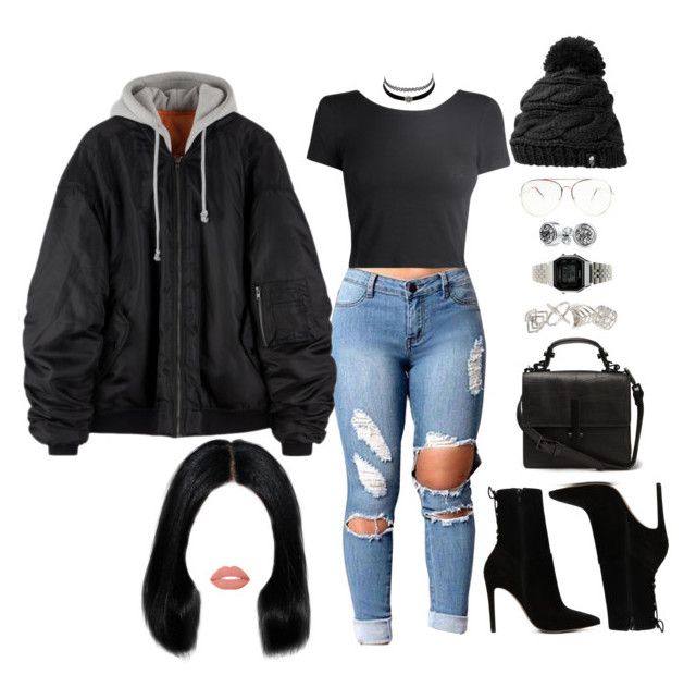 """""""Untitled #2551"""" by mrkr-lawson ❤ liked on Polyvore featuring Charlotte Russe, ALDO, Topshop, Casio, Bling Jewelry, Dollup Beauty and The North Face"""