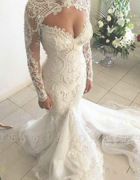 Gorgeous Mermaid Sweetheart Wedding Dresses Long Sleeve Lace Beadings Br Long Sleeve Wedding Dress Lace Elegant Wedding Dresses Lace Sweetheart Wedding Dress