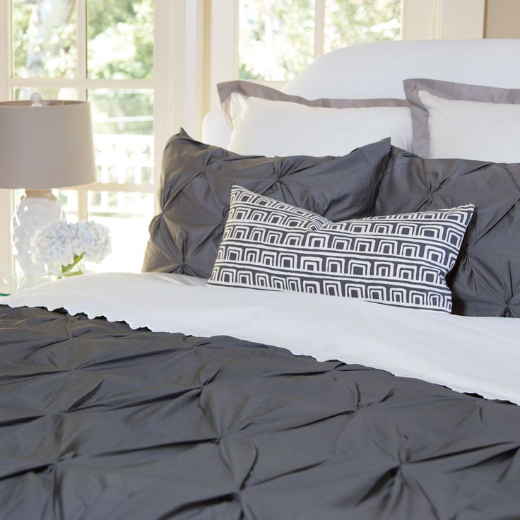 Bedroom inspiration and bedding decor   The Valencia Charcoal Gray Pintuck Duvet Cover   Crane and Canopy