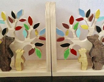 Natural Pine Colorful Tree Leaves Baby Bear and Mama Bear Bookend - Kids Wood Bookend Nursery Children