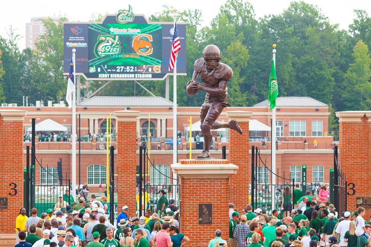 In the fall, cheer for the UNCC 49'er's football team at their new stadium on campus in the university area of Charlotte.