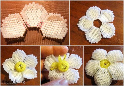 как сплести анемону five petal flower white with yellow center