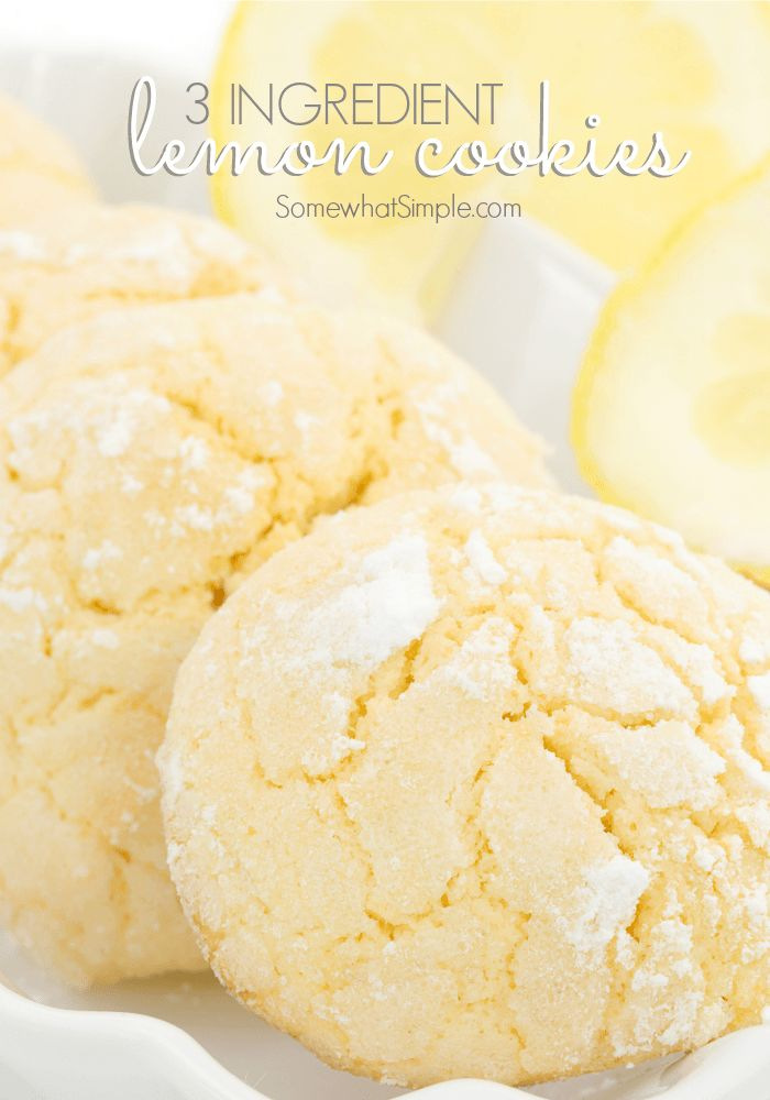 3 Ingredient Lemon Cookies - Quick and Easy Receip by Somewhat Simple