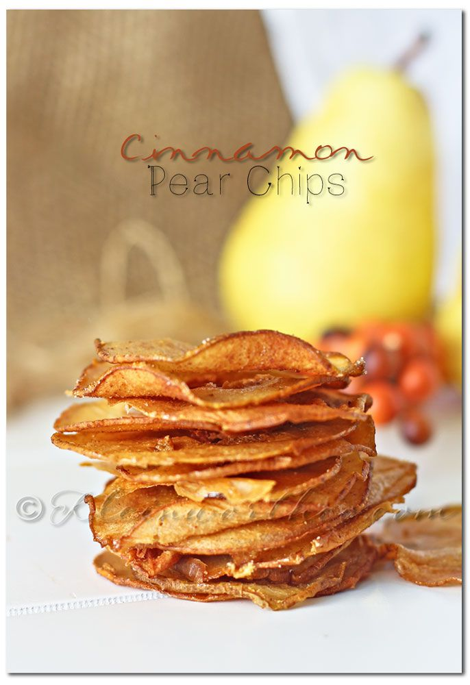Cinnamon Pear Chips - slice, spice with sugar and cinnamon, bake at 200 degrees for 2 hours (flip slices halfway through)