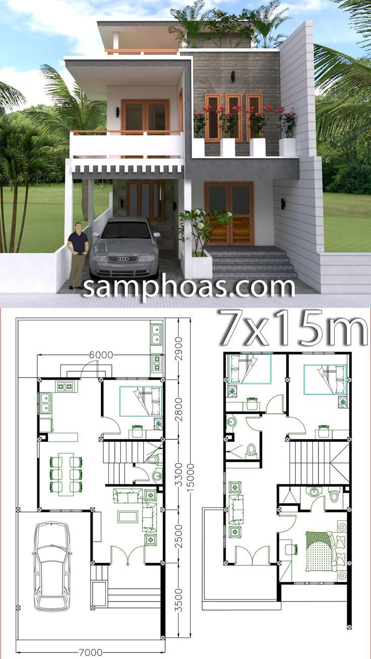 Home Design Plan 7x15m With 4 Bedrooms 7x15m Bedrooms Design Home House Plan Bedroomdesignpl Duplex House Plans Modern House Plans Duplex House Design
