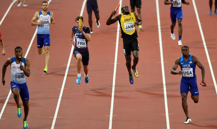 Usain Bolts Final Race Ends in a Cry of Pain and a Whimper CHRISTOPHER CLAREY Running the anchor leg of Jamaicas 4x100-meter relay at the worlds Bolt pulled up with what appeared to be an injury to his left leg and failed to finish.