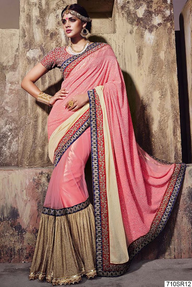 How about wearing a #Pink Net & Georgette #Saree for a cousins or friend's #wedding. This saree beautified with sequins, beads, stone, zari, resham embroidery, thread and patch border work. Available with red art silk embroidered blouse. Price $ 221