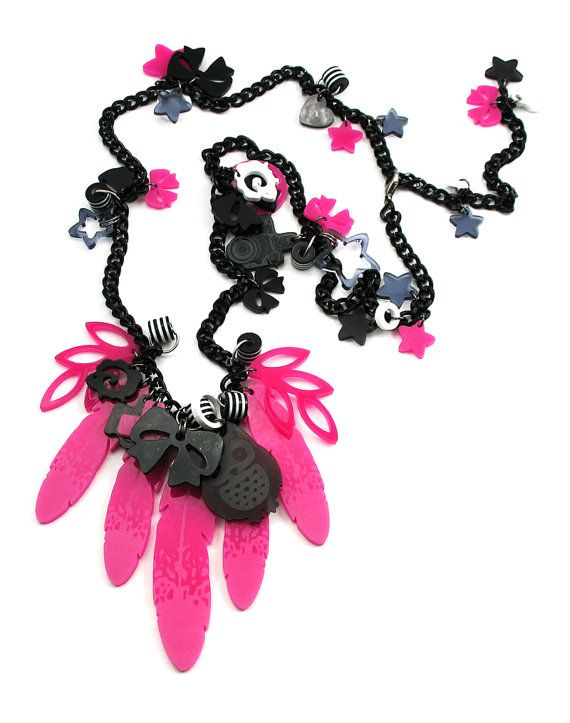 XOOXOO Unique Chained Pink Feathers/  handmade necklace by XOOXOO