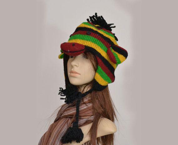Jamaican rasta monkey animal hat   warm hat  by HatsMittensEtc
