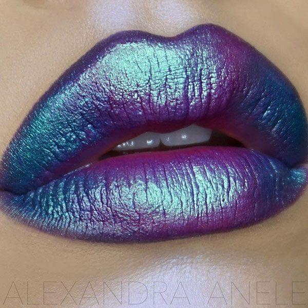 lèvres oil slick lips arc en ciel #maquillage #lèvres #rougealevres #lipart #oilslick #AlexandraAnele #monvanityideal