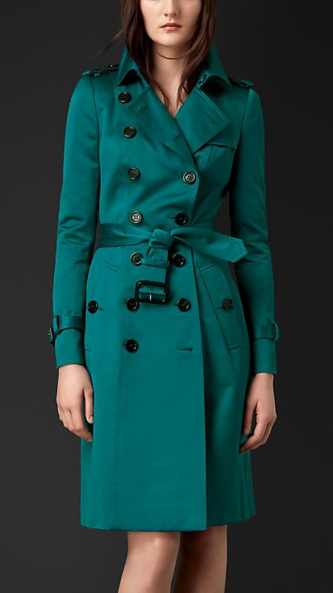 Verde azulado intenso Trench coat em cetim de algodão - Imagem 1