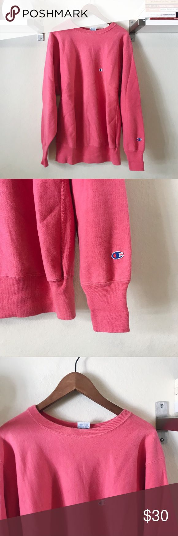 Vintage Hot Pink Champion Sweatshirt Super dope and trendy old school Champion Sweatshirt. Logo on the front and the sleeve. Old and in good used condition, some mild wear but it gives it a cool vintage look. This could even be worn as a dress for girls who are on the shorter side. MEASUREMENTS: 🔵 Length: 31in 🔵 Armpit to armpit: 24.5in. NO TRADES. Feel free to ask questions! Champion Tops Sweatshirts & Hoodies