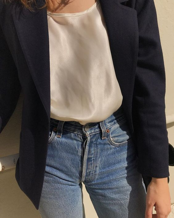 Navy blazer, ivory silk top & blue jeans | @styleminimalism