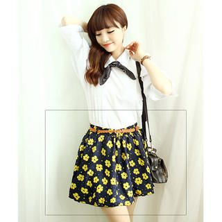 Buy 'Dodostyle – Set: Floral Print Inset Shorts A-Line Skirt   Belt' with Free International Shipping at YesStyle.com. Browse and shop for thousands of Asian fashion items from South Korea and more!
