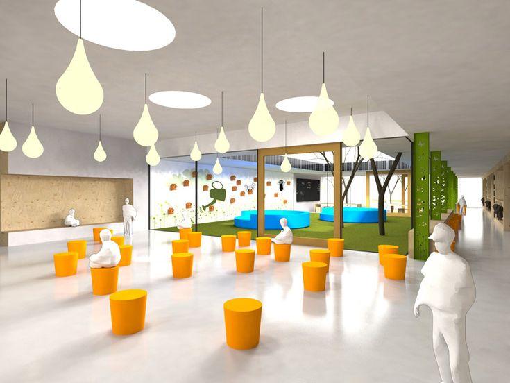 """'anne frank school' by mecanoo architects  Uitgangspunt: """"gezamenlijke ruimte voor ontmoeting"""" en """"afstemming tussen binnen en buiten"""""""