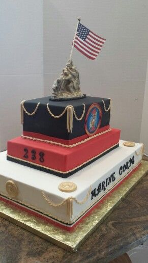 Marine Corps Birthday Ball cake.  Made by MyStacieCakes